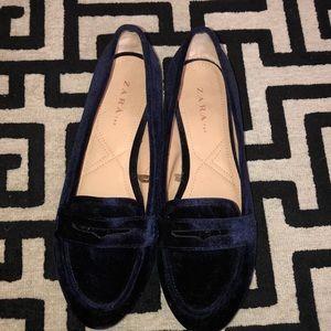 Zara blue velvet loafers